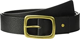 Calvin Klein - 38mm Pebble Leather Strap w/ Center Bar Buckle Belt