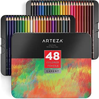 ARTEZA Colored Pencils, Professional Set of 48 Colors, Soft Wax-Based Cores, Ideal for Drawing Art, Sketching, Shading & Coloring, Vibrant Artist Pencils in Tin Box