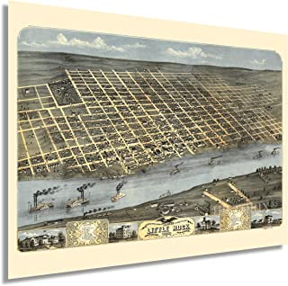 HISTORIX Vintage 1871 Little Rock Arkansas Map - 18x24 Inch Vintage Little Rock Wall Art Poster - Old Little Rock AR Map -...