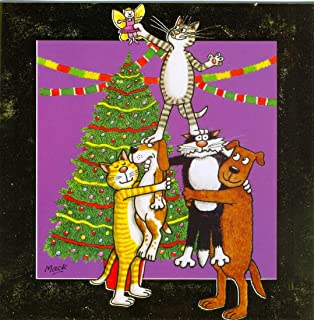 Party Animals (Cartoon Cats & Dogs) Mack Luxury Xmas Card Twin Pack