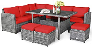 Tangkula 7 Pieces Patio Furniture Set, Outdoor Sectional Rattan Sofa Set with Cushions, All Weather Wicker Conversation Couch Set w/Dining Table & Ottomans for Backyard Garden Poolside (Red)