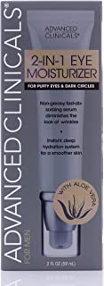 2-in-1 Eye Cream for Dark Circles and Puffiness with Retinol and Vitamin C Dark Circle Cream for Men Reduces Fine Lines, Eye Bags, Crows Feet. Non-Greasy Hydrating Cream by Advanced Clinicals, 2 oz.