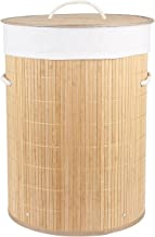 HomeStorie® Eco-Friendly Foldable Bamboo Laundry Basket Hamper with Lid, Large - 57 Liter (Light Brown)