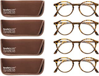 Sponsored Ad - Readers.com Fully Magnified Reading Glasses: The Port - 4 Pairs, Classic Round Reader for Women and Men