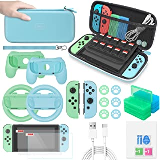 Accessories Bundle for Nintendo Switch Animal Crossing,MENEEA 26 in 1 Accessories kit with Carrying Case,Screen Protector,...