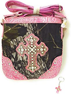 Mossy Oak Rhinestone Messenger Bag Cross Body Camo Purse + Keyring