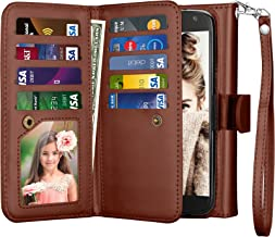 njjex for Moto X4 Wallet Case, for 2017 Motorola Moto X 4th Generation Flip Cover, PU Leather [9 Card Slots] Credit Card Holder [Detachable] [Kickstand] Phone Case & Wrist Lanyard for Moto X4 - Brown