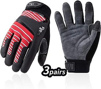 Vgo 1Pair//3Pairs Men Lady Deerskin Leather Work Gloves,Mechanic Gloves DB9702