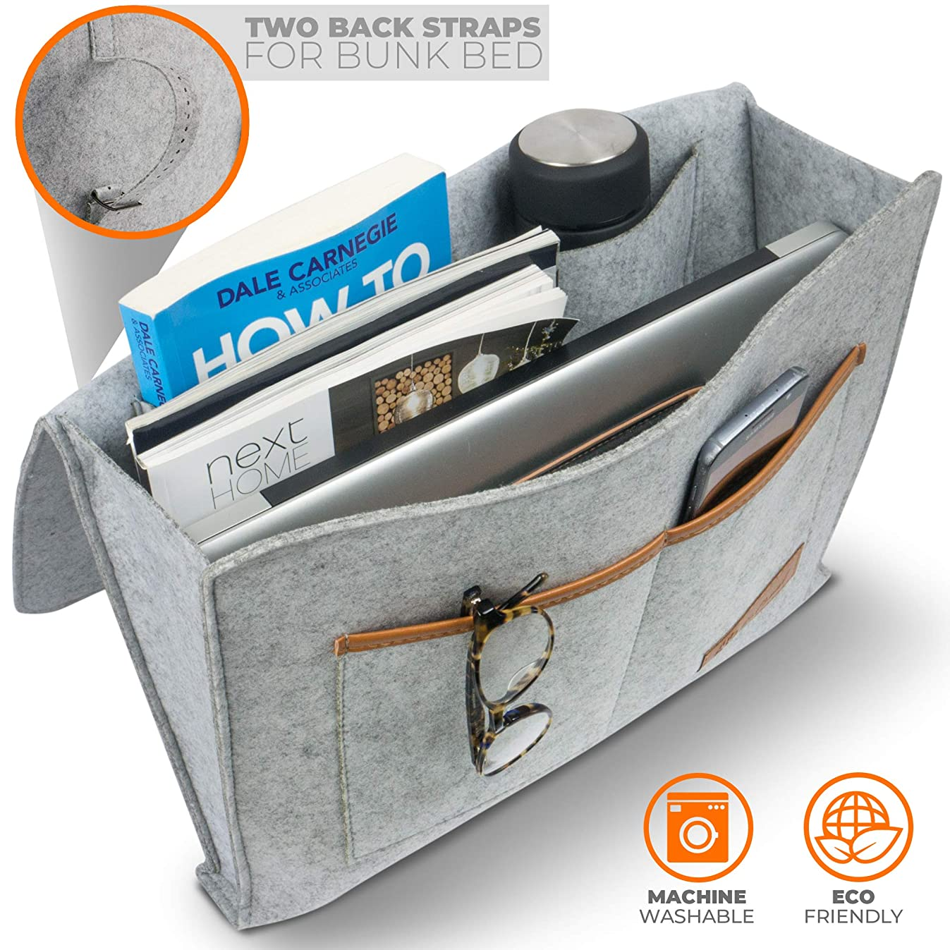 Premium Bedside Caddy Organizer - Heavy Duty Buckles for Bunk Bed Hold Up to 20 Lbs With Large Pockets - Double-Layer Thick Felt - Two Easy Ways of Installation - Perfect for College Dorm Room