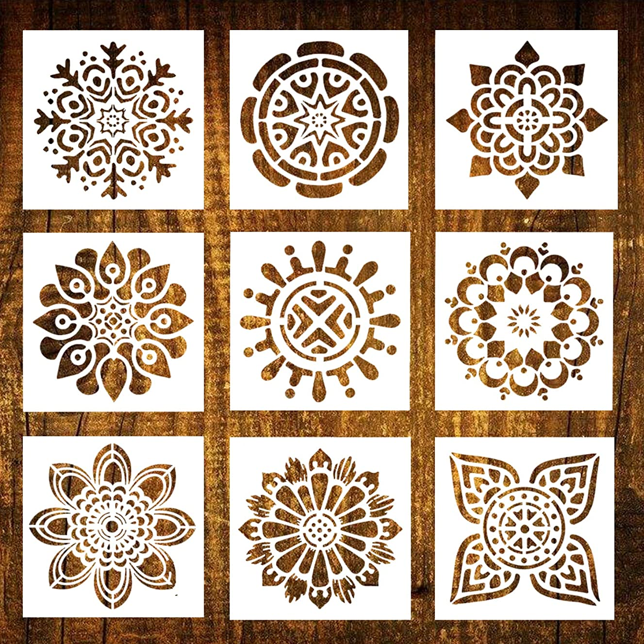 Mandala Painting Stencils Reusable Stencil Laser Cut Painting Template Floor Wall Tile Fabric Wood Furniture Stencils, Set of 9 (6x6 inch)