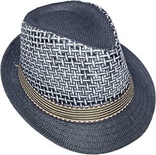 Jixin4you Men's Women's Gangster Manhattan Straw Fedora Hat Costume Trilby Cuban Cap Jazz Hats