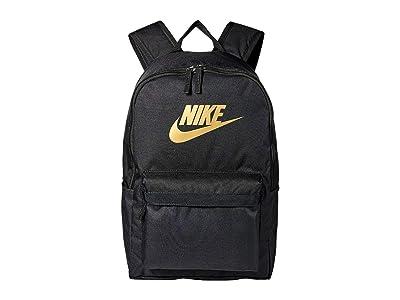 Nike Heritage Backpack 2.0 (Black/Black/Metallic Gold) Backpack Bags