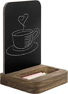 MyGift Small Tabletop Chalkboard with Wood Base and Chalk Tray