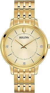 ساعة بولوفا للنساء دايموندز كوارتز سوار ستانلس ستيل ذهبي موديل 16 (97P123)