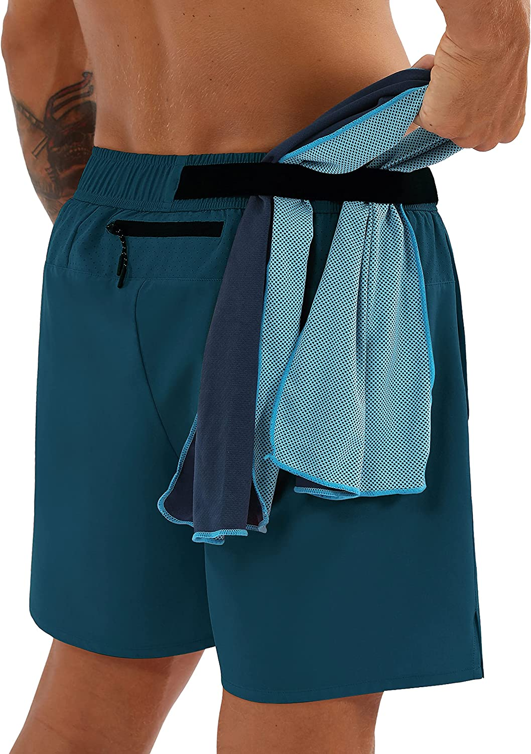 """ODODOS Men's 5"""" Quick Dry Running Shorts with Pockets & Towel Loop Lightweight Athletic Gym Workout Training Short Pants"""
