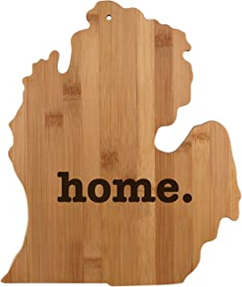Michigan State Shaped Bamboo Wood Cutting Board Engraved home. Personalized For New Family Home Housewarming Wedding Moving Gift