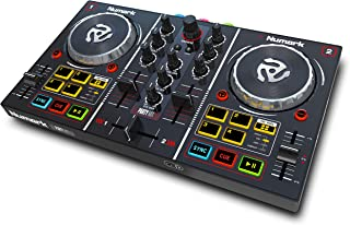 Numark Party Mix - Controlador de DJ plug-and-play de 2 canales para Serato DJ Lite con interfaz de audio incorporada, controles de pad, crossfader, jogwheels y pantalla