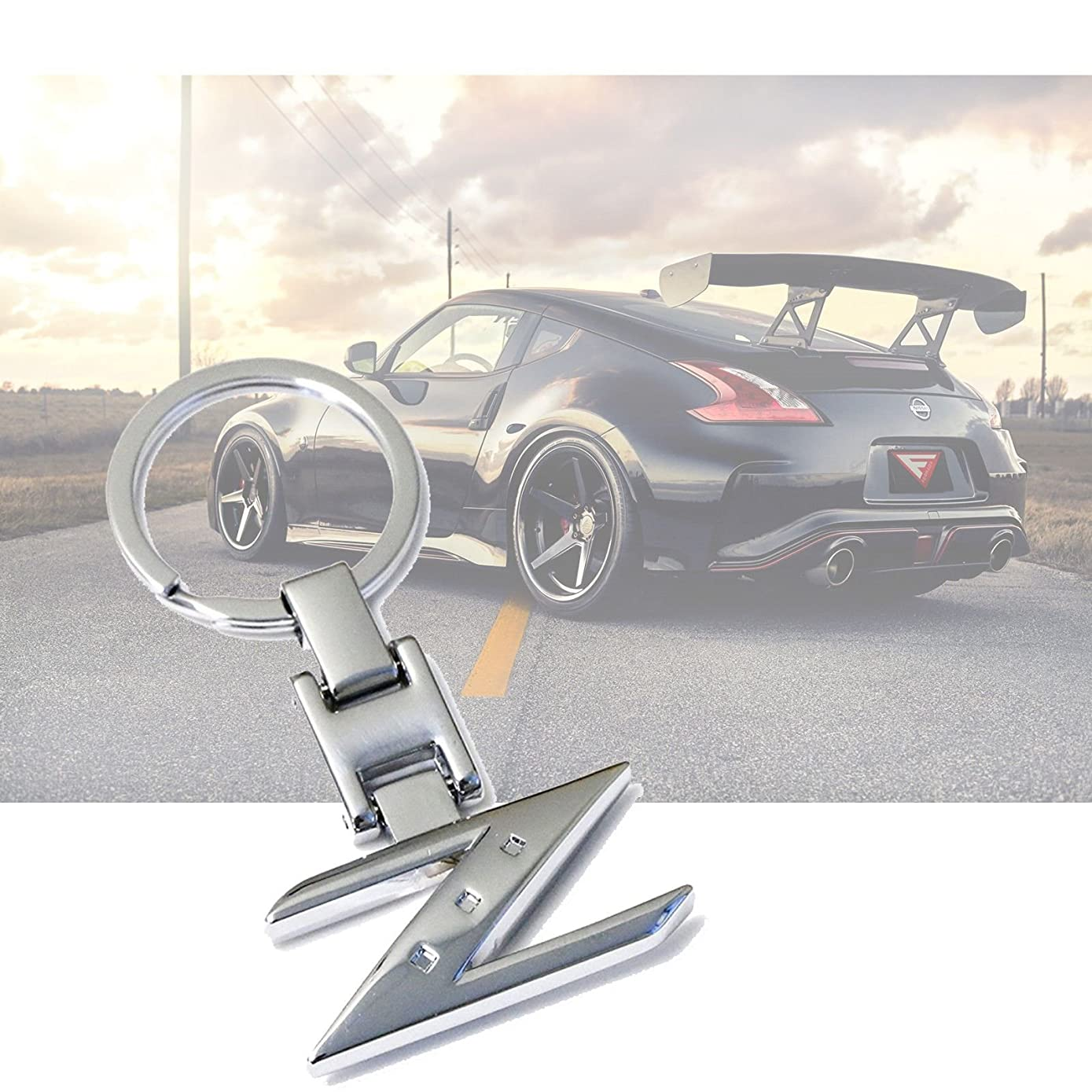 x xotic tech Metal Chrome Z Shape Sporty Style Keychain Key Chain FOB Ring for Nissan