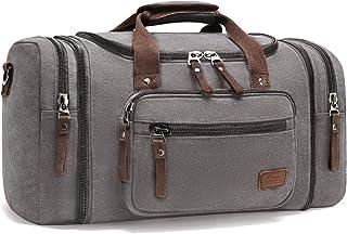 Fresion Große Reisetasche Canvas Sporttasche Schultertasche Tote Handtasche Männer Weekender Tasche Duffle Bag für Frauen & Männer mit 40L Grau