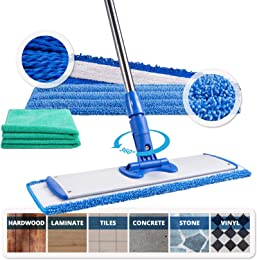 EE/_ 360° ROTATING TWO HEADS EASY MAGIC MICROFIBER SPIN FLOOR CLOTH MOP HEAD KAW