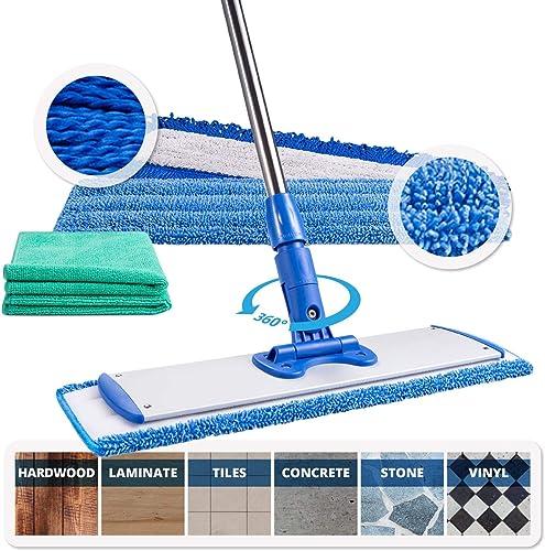 "18"" Professional Microfiber Mop | Adjustable Stainless Steel Handle | 3 Premium Mop Pads + 2 Free Microfiber Cloths |..."