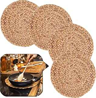 Set of 4 Large Round Woven Placemats, Water Hyacinth Straw Braided Tablemats Natural Handmade Heat Resistant Non-Slip Poth...