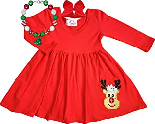 Angeline Baby Toddler Little Girls Merry Christmas Dress - Santa Christmas Tree Rudolph Reindeer