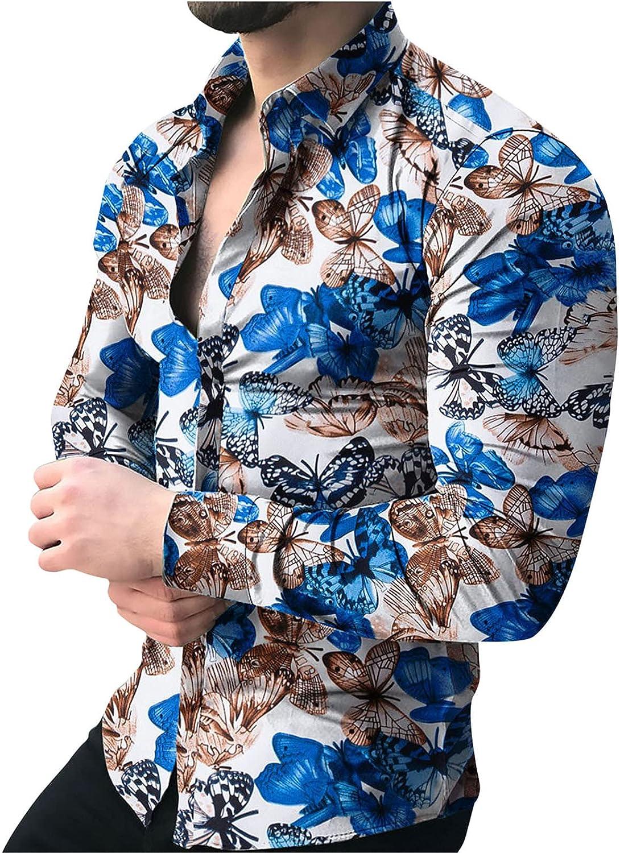 FUNEY Men's Fashion Leopard Print Button Down Dress Shirts Long Sleeve Slim Fit Collar Casual Shirts Paisley Shirt Tops