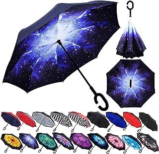 Zameka Double Layer Inverted Umbrellas Reverse Folding Umbrella Windproof UV Protection Big Straight Umbrella Inside Out U...