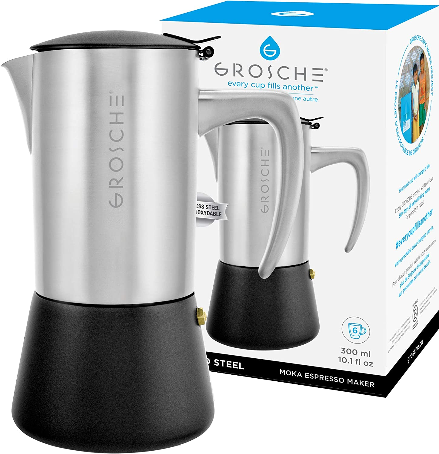 GROSCHE Milano Steel 6 espresso cup Brushed Stainless Steel Stovetop Espresso Maker Moka pot Cuban Coffee maker Italian Espresso Greca coffee maker for Induction gas or electric stoves