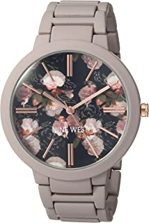 Nine West Women's NW/2096BKGY Matte Mauve Rubberized Bracelet Watch
