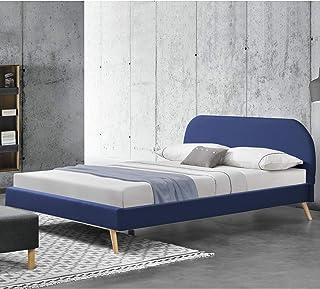 Lit Rembourré Robuste avec Sommier à Lattes Lit Double Solide Confortable Bois Lin 200 x 180 cm Bleu