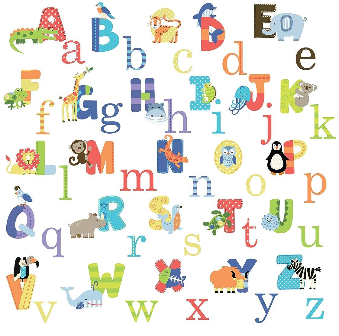 テストダンスタイプAnimal Alphabet Baby Nursery Peel andStick Wall Art Sticker Decals by Cherry Creek [並行輸入品]