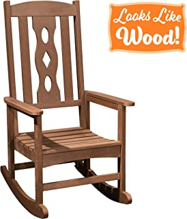 PolyTEAK Curved Poly Outdoor Rocking Chair, Walnut Brown | Adult-Size, Weather Resistant, Porch and Patio Rocker