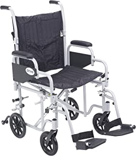 Drive Medical Poly Fly Light Weight Transport Chair Wheelchair with Swing-Away Footrest, Silver, 20