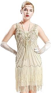 BABEYOND Women's Flapper Dresses 1920s V Neck Beaded Fringed Dress Great Gatsby Dress (Beige, XXL)