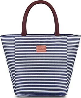 TianQin WY Lunch Bags for Women Upgraded Larger Capacity Oxford Cloth Insulated Lunch Bag Lunch Boxes Lunch Tote Bag Handbag Cooler Bag for Women Adults (Blue and White Strips)