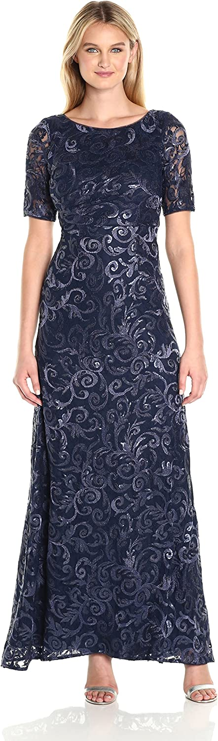 Adrianna Papell Womens Stretch Sequin Tulle Gown Dress