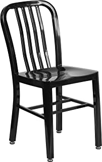 Flash Furniture Black Metal Indoor-Outdoor Chair