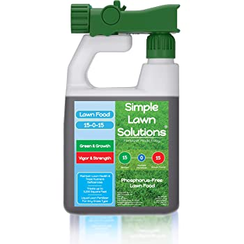 Superior Nitrogen & Potash 15-0-15 NPK- Lawn Food Quality Liquid Fertilizer - Concentrated Spray- Any Grass Type- Simple Lawn Solutions Green, Grow, Health & Strength- Phosphorus-Free (32 Ounce)