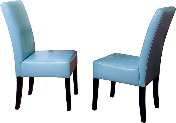 Best Selling Teal Blue T Stitch Bonded Leather Dining Chair 2 Pack