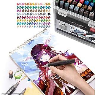 Marqueurs et surligneurs 108 à double tête - Fournitures artistiques colorées et étanches - Pour dessin, école, étudiants