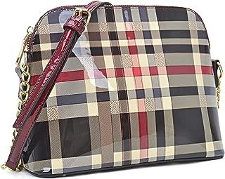 Women Patent Leather Crossbody Lightweight Messenger Bag Dome Shoulder Bag Plaid Crossover Bags