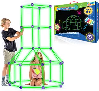 Fun Forts Glow Kids Tent for Kids - 81 Pack STEM Toys Glow in The Dark Fort Building Kit, Building Toys Play Tent Indoor a...