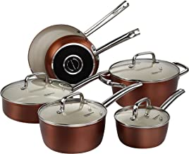 Pots and Pans Set, Cooksmark Ceramic Cookware Set Copper Finish - Nonstick and Dishwasher Safe Oven Safe - 10 Piece