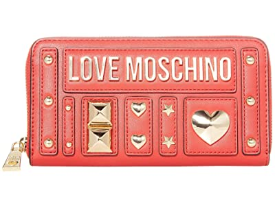 LOVE Moschino Love and More Zip Wallet (Red PU) Handbags