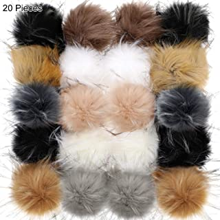 20 Pieces Faux Raccoon Fur Pom Pom Ball Faux Fur Fluffy Balls Pompom Balls with Elastic Loop for Hats Key Chains Scarves Gloves Bags DIY Accessories