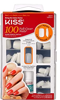 Kiss Products 100 Full Cover Nails, 0.24 Pound 1 Pack Short Square