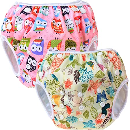 Teamoy 水遊びパンツ 2点セット 0-3歳 赤ちゃん用 ボタンでサイズ調整可能 防水外層 ポリエステルメッシュ内層 オムツカバー スイミング教室・公園・海水浴・温泉旅行(ジャングル+フクロウピンク)