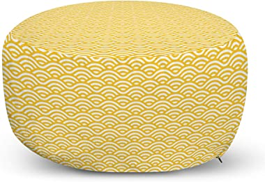 Ambesonne Yellow Ottoman Pouf, Sea Ocean Inspired Abstract Vintage Style Waves Linear Ornament Style, Decorative Soft Foot Rest with Removable Cover Living Room and Bedroom, Marigold White